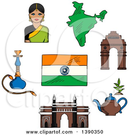 Clipart of a Sketched Gate Way, Arch, Woman in a Sari, National Flag, Pot of Tea and a Hookah Pipe - Royalty Free Vector Illustration by Vector Tradition SM
