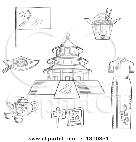 Clipart of a Sketched Chinese Travel Icons National Flag, Woman Kimono, Tea Kettle with Cups, Bowl with Rice and Chopstick, Noodle Box and Ancient Temple of Heaven - Royalty Free Vector Illustration by Vector Tradition SM