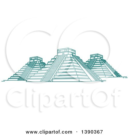 Clipart of a Turquoise Lineart Styled Landmark, El Castillo - Royalty Free Vector Illustration by Vector Tradition SM