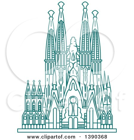 Clipart of a Turquoise Lineart Styled Landmark, Sagrada Familia - Royalty Free Vector Illustration by Vector Tradition SM