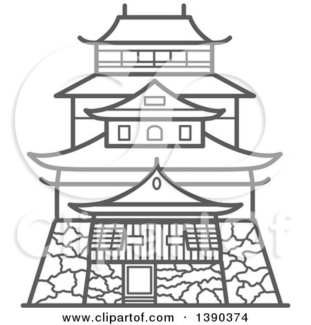 Royalty Free RF Japanese Architecture Clipart Illustrations