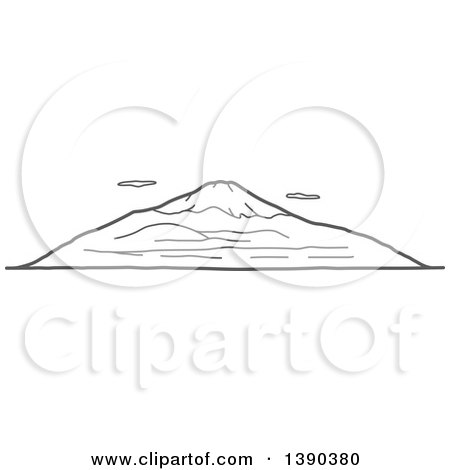 Clipart of a Sketched Gray Landscape with Mt Fuji - Royalty Free Vector Illustration by Vector Tradition SM