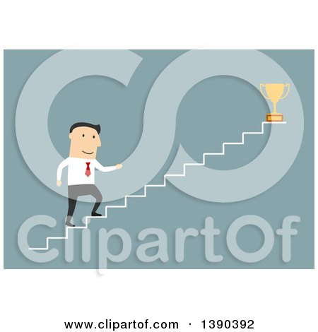 Clipart of a Flat Design White Business Man Climbing Towards a Trophy, on Blue - Royalty Free Vector Illustration by Vector Tradition SM