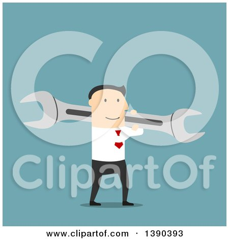 Clipart of a Flat Design White Businessman Carrying a Wrench, on Blue - Royalty Free Vector Illustration by Vector Tradition SM