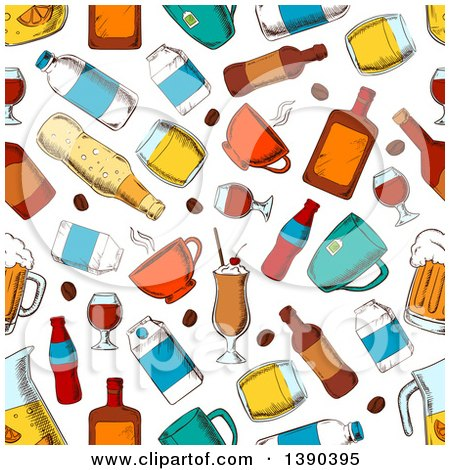 Seamless Background Pattern of Beverages Posters, Art Prints