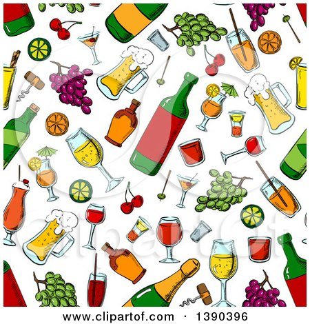 Clipart of a Seamless Background Pattern of Alcohol and Fruit - Royalty Free Vector Illustration by Vector Tradition SM