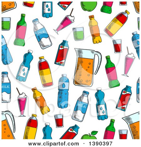 Clipart of a Seamless Background Pattern of Sketched Beverages - Royalty Free Vector Illustration by Vector Tradition SM