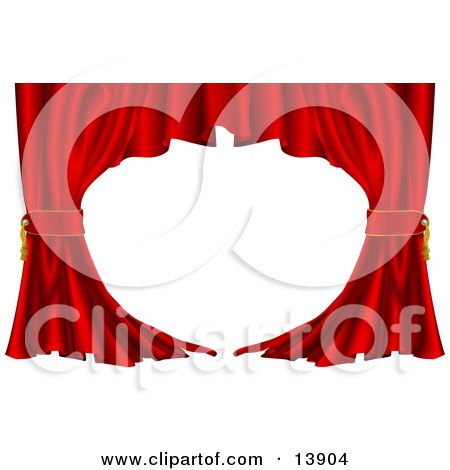 Red Velvet Theatre Curtains Swept to the Side Clipart Illustration by AtStockIllustration