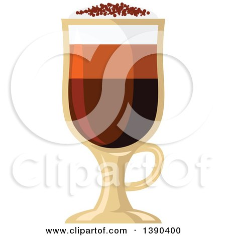 Clipart of a Mochachino Coffee Drink in a Tall Glass - Royalty Free Vector Illustration by Vector Tradition SM