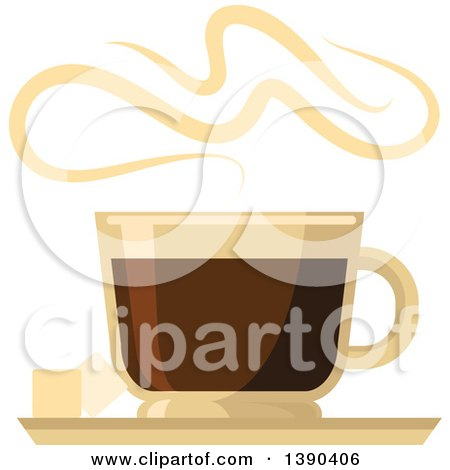Clipart of a Hot Espresso Coffee Drink in a Glass - Royalty Free Vector Illustration by Vector Tradition SM