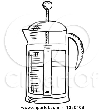 Black and White Sketched French Press Posters, Art Prints