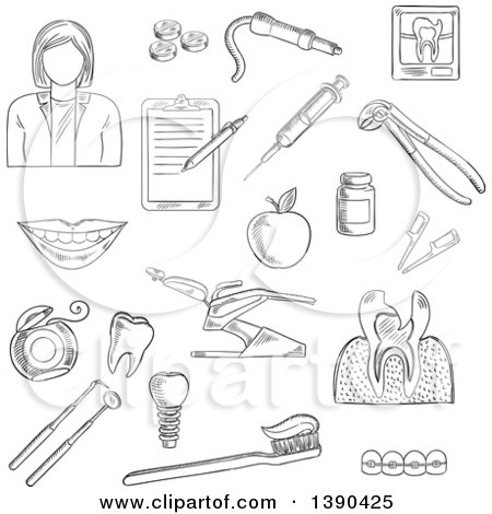 Clipart of a Black and White Sketched Female Dentist and Items - Royalty Free Vector Illustration by Vector Tradition SM