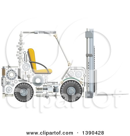 Clipart of a Forklift Made of Mechanical Parts - Royalty Free Vector Illustration by Vector Tradition SM