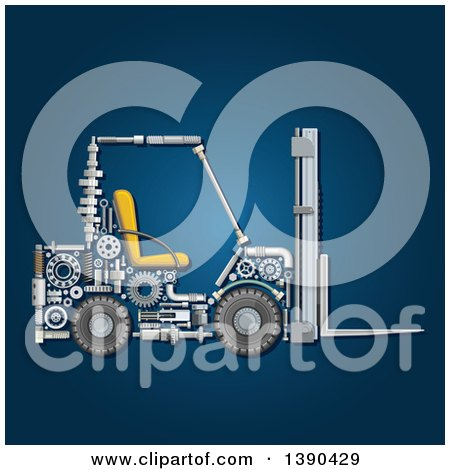 Clipart of a Forklift Made of Mechanical Parts on Blue - Royalty Free Vector Illustration by Vector Tradition SM