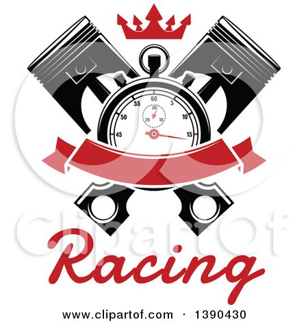 Clipart of a Racing Stopwatch over Crossed Pistons, with a Blank Red Banner, Crown and Text - Royalty Free Vector Illustration by Vector Tradition SM