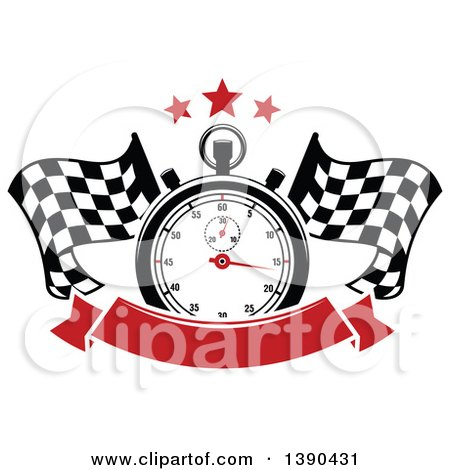 Clipart of a Racing Stopwatch and Stars over Crossed Checkered Flags and a Blank Red Banner - Royalty Free Vector Illustration by Vector Tradition SM