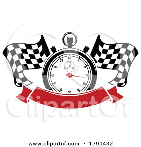 Clipart of a Racing Stopwatch over Crossed Checkered Flags and a Blank Red Banner - Royalty Free Vector Illustration by Vector Tradition SM