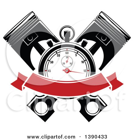Clipart of a Racing Stopwatch over Crossed Pistons, with a Blank Red Banner - Royalty Free Vector Illustration by Vector Tradition SM