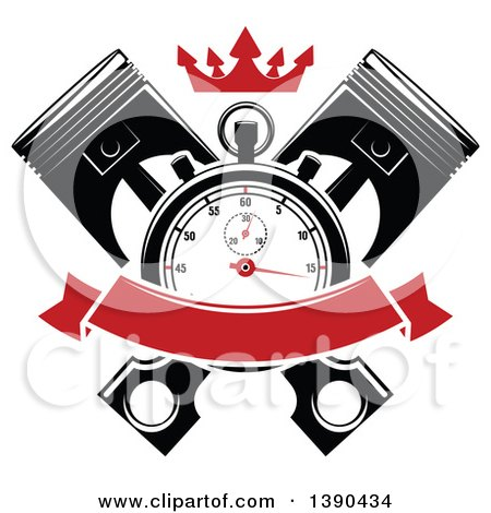 Clipart of a Racing Stopwatch over Crossed Pistons, with a Red Crown and Blank Banner - Royalty Free Vector Illustration by Vector Tradition SM