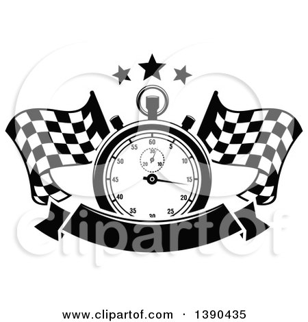 Clipart of a Black and White Racing Stopwatch and Stars over Crossed Checkered Flags and a Blank Banner - Royalty Free Vector Illustration by Vector Tradition SM