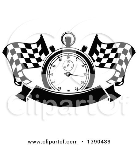 Clipart of a Black and White Racing Stopwatch over Crossed Checkered Flags and a Blank Banner - Royalty Free Vector Illustration by Vector Tradition SM