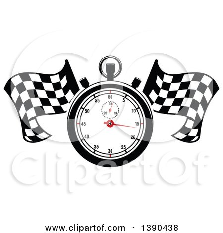 Clipart of a Racing Stopwatch over Crossed Checkered Flags - Royalty Free Vector Illustration by Vector Tradition SM