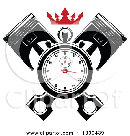 Clipart of a Racing Stopwatch over Crossed Pistons, with a Red Crown - Royalty Free Vector Illustration by Vector Tradition SM