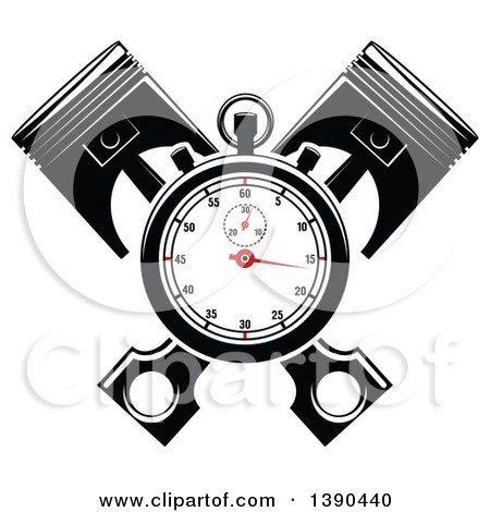 Clipart of a Racing Stopwatch over Crossed Pistons - Royalty Free Vector Illustration by Vector Tradition SM