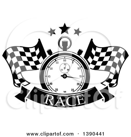 Clipart of a Black and White Racing Stopwatch and Stars over Crossed Checkered Flags and a Banner with Text - Royalty Free Vector Illustration by Vector Tradition SM