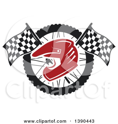 Clipart of a Red Racing Helmet over Crossed Checkered Flags and a Wheel - Royalty Free Vector Illustration by Vector Tradition SM