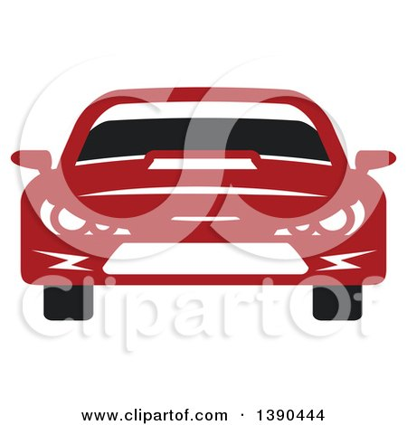 Clipart of a Red Sports or Race Car - Royalty Free Vector Illustration by Vector Tradition SM