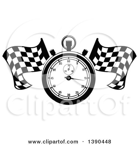 Clipart of a Black and White Racing Stopwatch over Crossed Checkered Flags - Royalty Free Vector Illustration by Vector Tradition SM