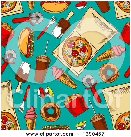 Clipart of a Seamless Background Pattern of Junk Foods on Turquoise - Royalty Free Vector Illustration by Vector Tradition SM