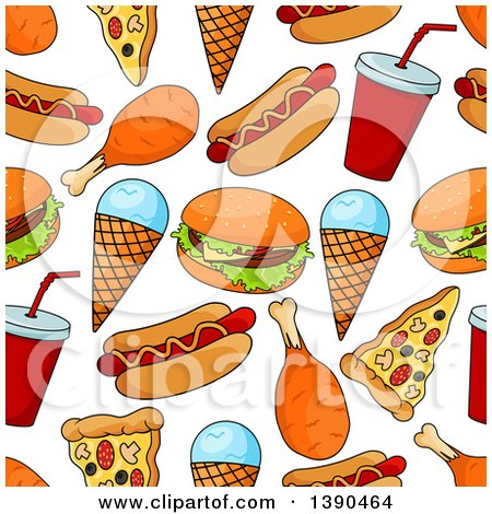 Clipart of a Seamless Background Pattern of Fast Foods - Royalty Free Vector Illustration by Vector Tradition SM