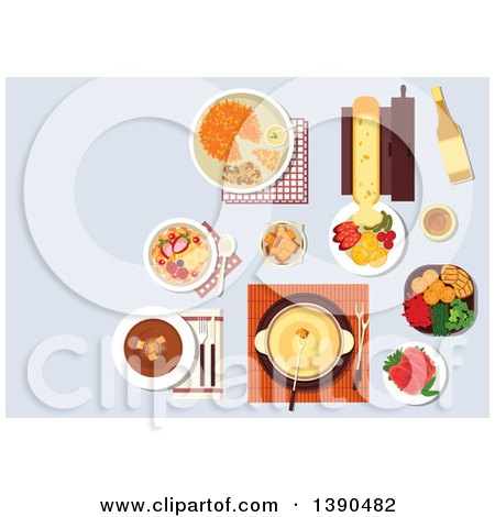 Clipart of Traditional Swiss Cheese and Chocolate Fondue, Served with Croutons and Fresh Vegetables, Melted Cheese Raclette with Potatoes and Sausages, Potato Fritter Rosti and Cured Lamb, Bircher Muesli with Fresh Fruits and Wine Bottle - Royalty Free by Vector Tradition SM