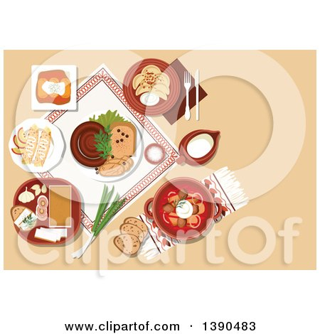 Clipart of Ukrainian Cuisine Dishes with Borscht Served in Ceramic Pot and Sour Cream, Stuffed Cabbage Rolls and Vegetable Dumplings Vareniki, Topped with Fried Onion, Sausages and Fatback, Served with Garlic and Rye Bread, Pancakes and Jug of Milk - Ro by Vector Tradition SM