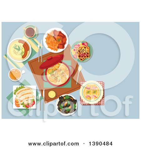 Clipart of Traditional Belgian Cuisine with Ceramic Pot of Chicken Stew, Surrounded by Gratin of Endives Wrapped with Ham, Mashed Potato with Sausages, Mussels and Beef Stew with French Fries, White Pork Sausages and Waffles Topped with Fruits - Royalty by Vector Tradition SM