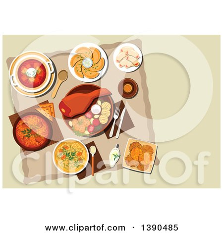 Clipart of Polish Cuisine Dishes with Pork Leg and Grilled Vegetables, Meat and Cabbage Stew Bigos, Noodle Chicken Soup, Vegetarian Dumplings Pierogi, Beet Soup, Potato Pancakes, Cookies with Jam and Bottle of Dark Beer - Royalty Free Vector Illustratio by Vector Tradition SM