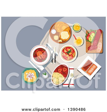 Clipart of Traditional Hungarian Cuisine Fried Bread Langos with Sour Cream and Cheese, Served with Winter Salami, Egg Noodles with Cheese and Meat Stew, Spicy Fish Soup with Hot Paprika Pepper, Vegetable Salad and Stove Cakes with Lemonade - Royalty Fr by Vector Tradition SM