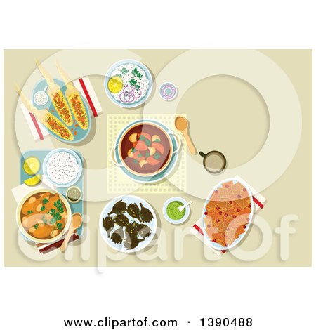 Clipart of Chicken Legs, Served with Rice and Guacamole, Bread Casserole with Dried Cranberries Fruits, Pork Ribs and Potato Stew, Grilled Corn Cobs with Spicy Herbs and Almond Flakes, Fried Artichoke - Royalty Free Vector Illustration by Vector Tradition SM