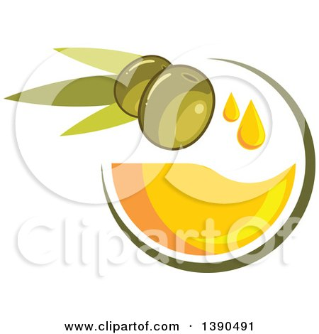 Clipart of Green Olives and Oil - Royalty Free Vector Illustration by Vector Tradition SM