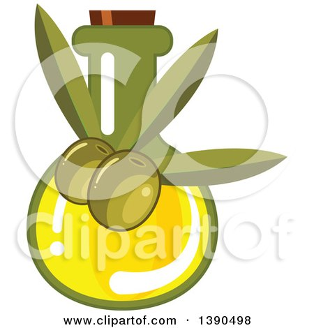 Clipart of a Bottle of Olive Oil - Royalty Free Vector Illustration by Vector Tradition SM