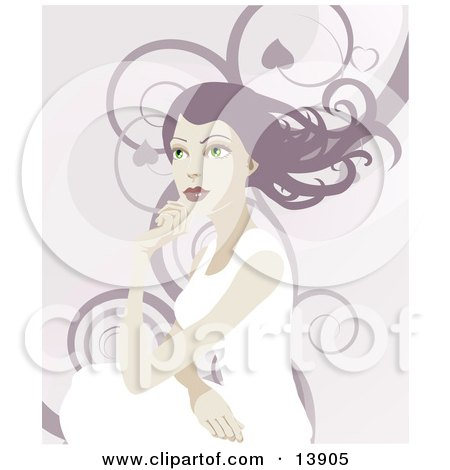 Pretty Woman With Long Hair, Looking Off Into the Distance Over a Background of Swirls Posters, Art Prints