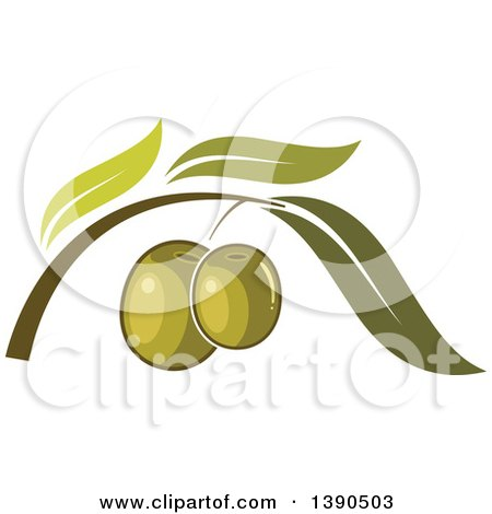 Clipart of a Branch with Green Olives and Leaves - Royalty Free Vector Illustration by Vector Tradition SM