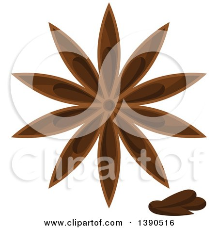 Clipart of a Culinary Spice Herb, Star Anise - Royalty Free Vector Illustration by Vector Tradition SM