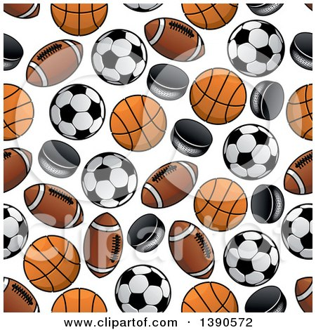 Clipart Of A Seamless Background Pattern Sports Balls And Pucks