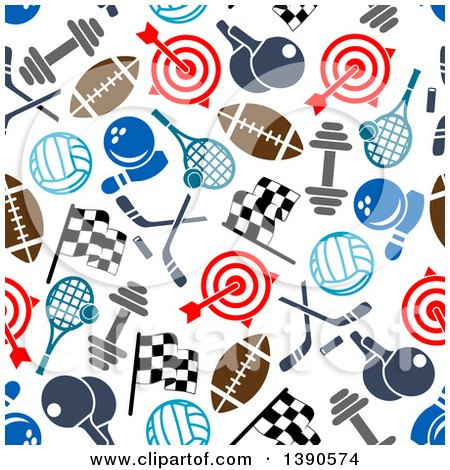 Clipart of a Seamless Background Pattern of Sports Equipment - Royalty Free Vector Illustration by Vector Tradition SM