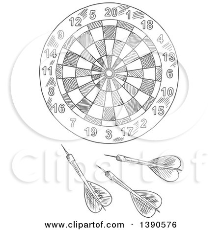 Clipart of a Gray Sketched Dartboard - Royalty Free Vector Illustration by Vector Tradition SM