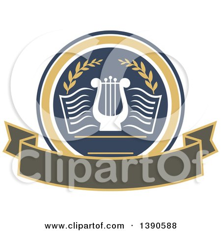 Clipart of a College or University Design of a Lyre in a Circle over a Banner - Royalty Free Vector Illustration by Vector Tradition SM