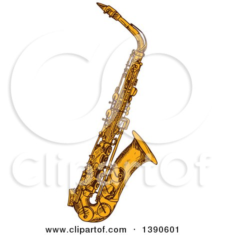 Clipart of a Sketched Saxophone - Royalty Free Vector Illustration by Vector Tradition SM